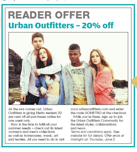 Urban Outfitters Offer 26th May